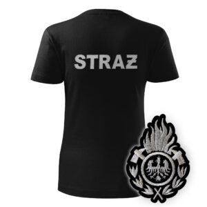 Damska czarna koszulka strażacka HAFT-DRUK WZ01 Ognik OSP szary napis
