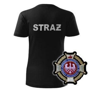 Damska czarna koszulka strażacka HAFT-DRUK Krzyż Związkowy