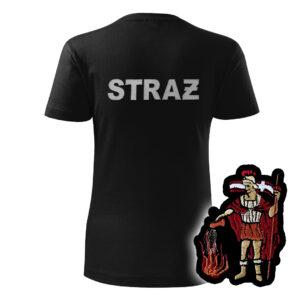 Damska czarna koszulka strażacka HAFT-DRUK  św. Florian