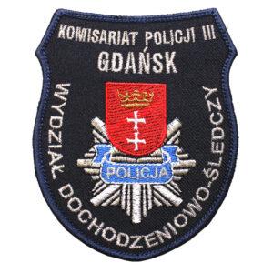 Gdańsk – Naszywka Policja Komisariat Policji III Gdańsk Wydział Dochodzeniowo Śledczy NPO1074 IND