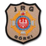 Piaskowy emblemat naramienny, naszywka na mundur Straż Krzyż Związkowy OSP WZ02