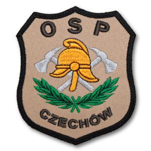 Piaskowy emblemat naramienny, naszywka na mundur Straż Hełm i Toporki OSP WZ03