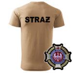 Piaskowa koszulka strażacka HAFT-DRUK WZ02 Krzyż Związkowy
