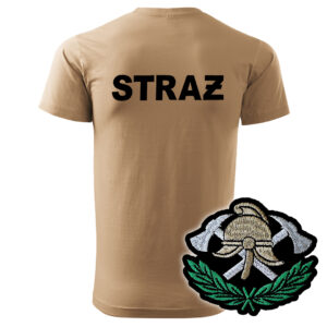 Piaskowa koszulka strażacka HAFT-DRUK WZ03 Toporki i Hełm