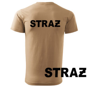 Piaskowa koszulka strażacka HAFT-DRUK NAPIS STRAŻ