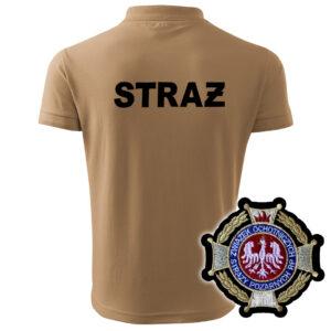 Piaskowa koszulka strażacka polo HAFT-DRUK WZ02 Krzyż Zw OSP