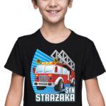 Syn strażaka, czarna koszulka dziecięca STR037 DTG