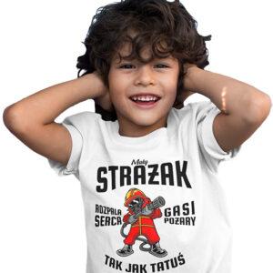 Mały strażak, biała koszulka dziecięca STR036 DTG