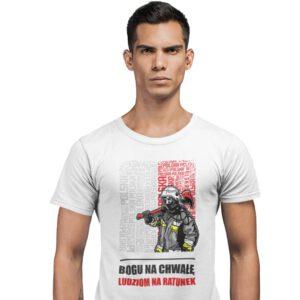 Bogu na chwałę ludziom na ratunek, męska biała koszulka STRAŻACKA z nadrukiem DTG0027