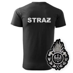 Czarna koszulka strażacka HAFT-DRUK WZ01 Ognik OSP szary napis