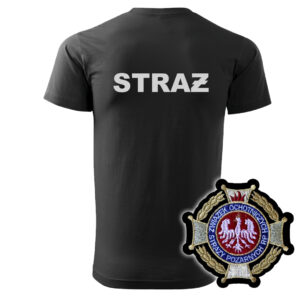 Czarna koszulka strażacka HAFT WZ02-DRUK Krzyż Związkowy