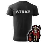 Czarna koszulka strażacka HAFT-DRUK WZ08 św. Florian