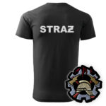 Czarna koszulka strażacka HAFT-DRUK WZ09 WOP