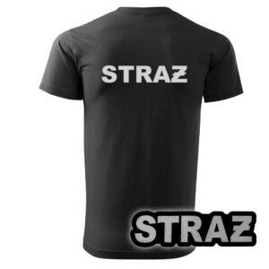 Czarna koszulka strażacka HAFT-DRUK SZARY NAPIS STRAŻ