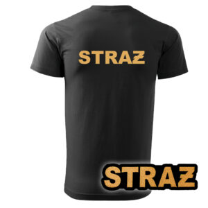 Czarna koszulka strażacka HAFT-DRUK ŻÓŁTY NAPIS STRAŻ
