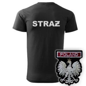 Czarna koszulka strażacka HAFT-DRUK WZ06 Orzeł Polska