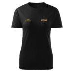 Damska czarna koszulka strażacka HAFT-DRUK ŻÓŁTY NAPIS