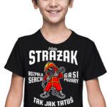 Mały strażak, czarna koszulka dziecięca STR036 DTG