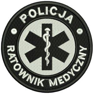 Haftowana naszywka POLICJA Ratownik Medyczny 85mm IND