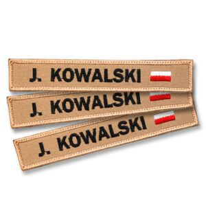 Piaskowa naszywka imiennik z FLAGĄ POLSKI straż OSP na nomex coyote rosenbauer 145x25mm