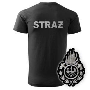 Czarna koszulka strażacka HAFT WZ01 Ognik OSP