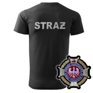 Czarna koszulka strażacka HAFT WZ02 Krzyż Związkowy