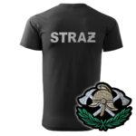 Czarna koszulka strażacka HAFT WZ03 Toporki i Hełm