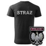Czarna koszulka strażacka HAFT WZ06 Orzeł Polska