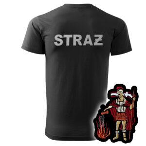 Czarna koszulka strażacka HAFT WZ08 św. Florian