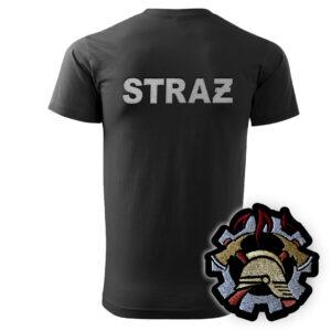 Czarna koszulka strażacka HAFT WZ09 WOP
