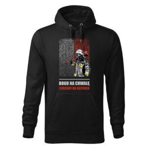 Bogu na chwałę ludziom na ratunek, czarna bluza strażacka z kapturem DTG027