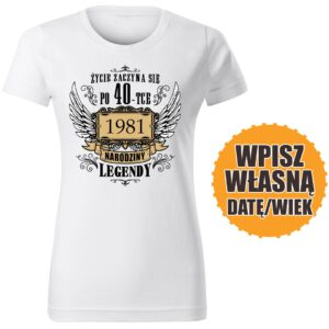 Życie zaczyna się po 40 tce biała DAMSKA koszulka urodzinowa DTG0048