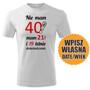 40lat biała koszulka urodzinowa DTG0052