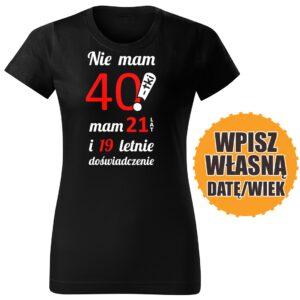 40lat czarna DAMSKA koszulka urodzinowa DTG0052