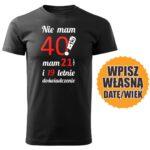 40lat czarna koszulka urodzinowa DTG0052