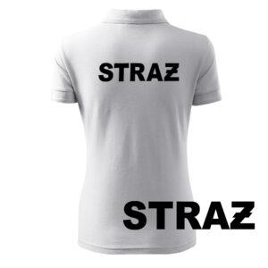 Biała koszulka strażacka polo damska napis HAFT-DRUK STRAŻ
