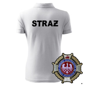 Biała koszulka strażacka polo damska WZ02 HAFT-DRUK KrzyżOSP