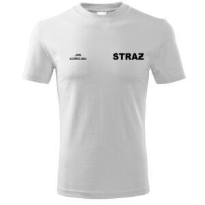 Biała koszulka strażacka Haft WZ16 czarny napis STRAŻ