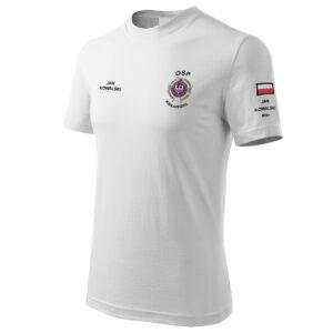 Biała koszulka strażacka Haft WZ02 Krzyż Związkowy OSP