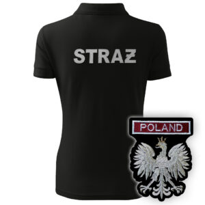 Czarna polo damska straż HAFT-DRUK WZ06 Orzeł Polska