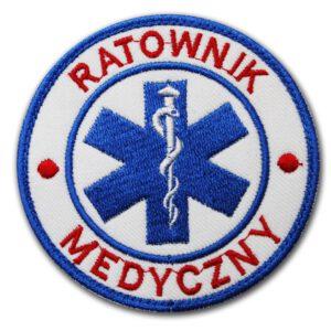 Haftowana biała naszywka czerwony napis Ratownik Medyczny 85mm IND