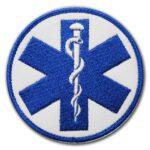 Haftowana biała naszywka ratownicza eskulap niebieski 85mm IND