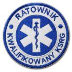 Haftowana biała naszywka Ratownik Kwalifikowany KSRG – 85mm IND