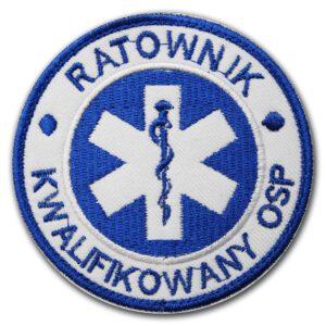 Haftowana biała naszywka Ratownik Kwalifikowany OSP – 85mm IND