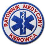 Haftowana biała naszywka Ratownik medyczny Kierowca 85mm IND