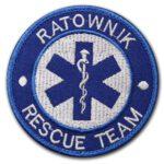 Haftowana naszywka ratownik rescue team 85mm IND