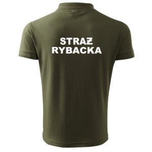 POLO zielona koszulka z nadrukiem STRAŻ RYBACKA PLT