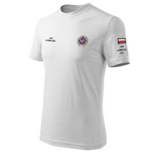 Biała koszulka strażacka HAFT-DRUK WZ02 Krzyż Związkowy OSP