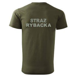 T-SHIRT zielona koszulka STRAŻ RYBACKA haft