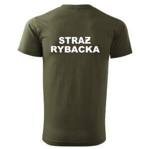 T-SHIRT zielona koszulka STRAŻ RYBACKA z nadrukiem PLT